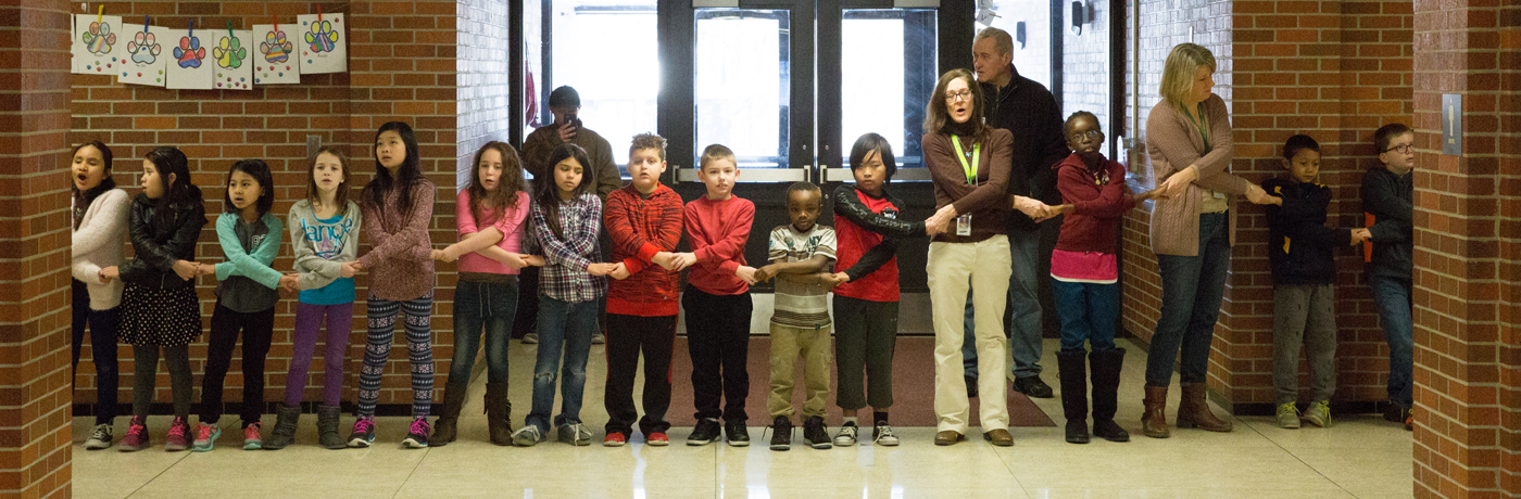 Samuelson Elementary School Students Holding Hands