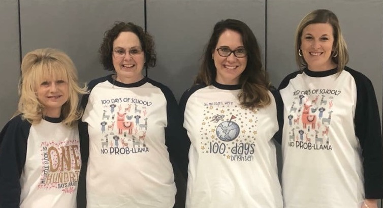 The Samuelson first grade teachers sport their 100 days of school t-shirts.
