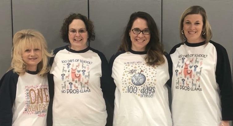 The Samuelson first grade teachers sport their 100 days of school t-shirts.