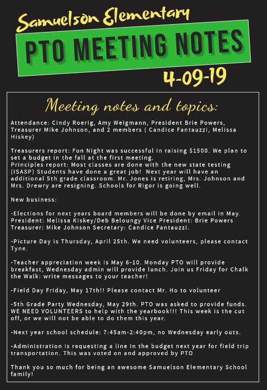 4 09 19 PTO MEETING NOTES