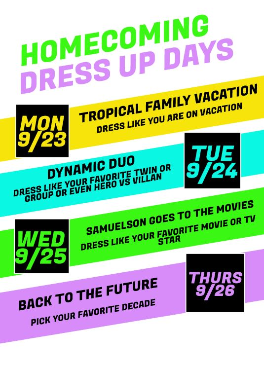 HOMECOMING DRESS UP DAYS FLYER