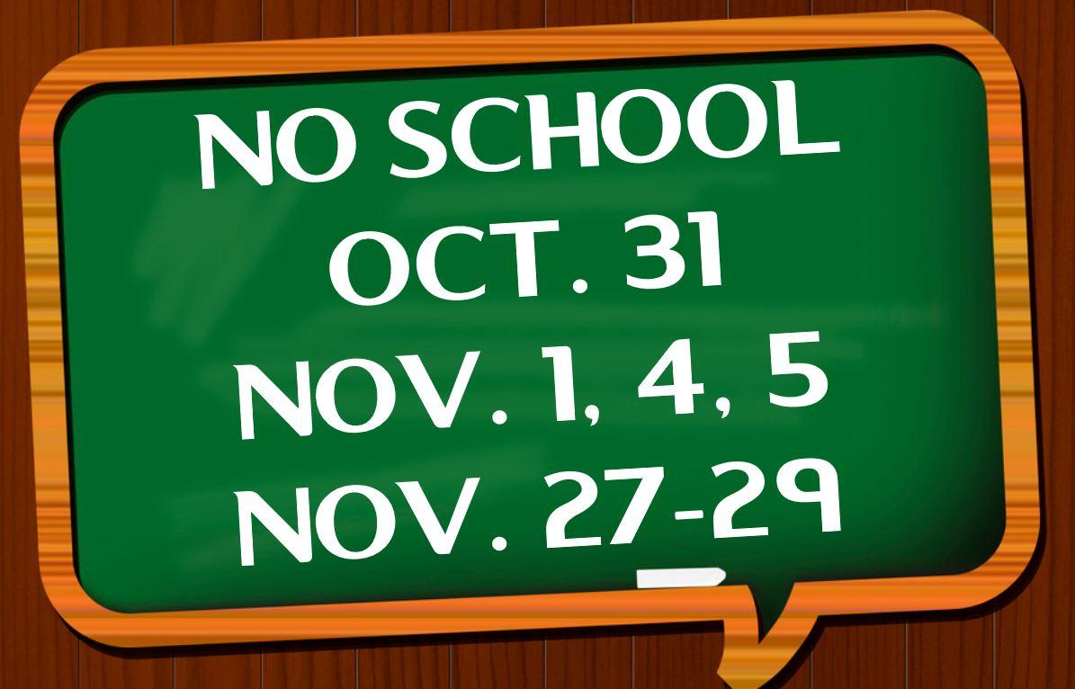 NO SCHOOL OCT NOV FLYER