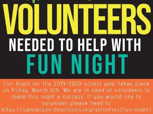 Fun Night Volunteers Needed!