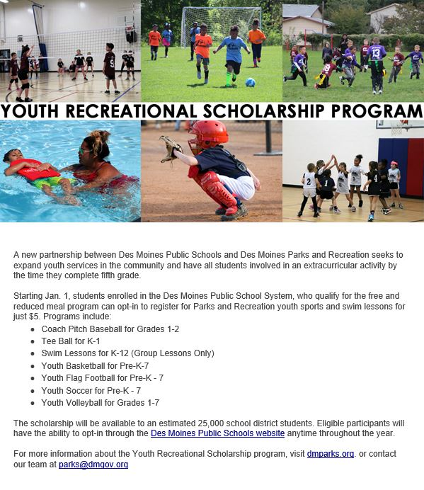 YOUTH RECREATIONAL SCHOLARSHIP FLYER