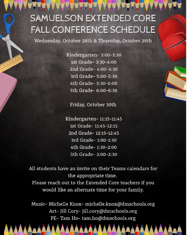 EXTENDED CORE FALL CONFERENCE SCHEDULE