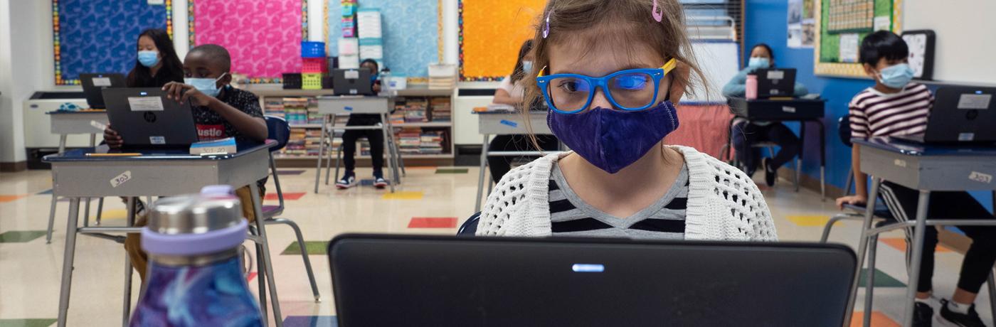 Samuelson student wearing mask