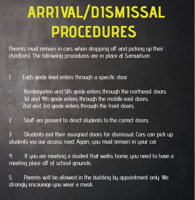 ARRIVAL DISMISSAL PROCEDURES 21 22